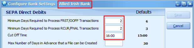 Configure Bank Settings