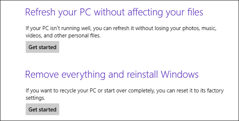 Refresh your PC without affecting your files